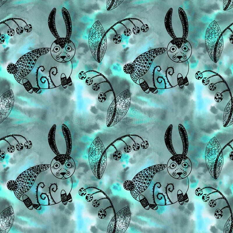 Зайчик загадочной картины леса безшовной милый и линия искусство заводов на предпосылке акварели бирюзы стоковая фотография