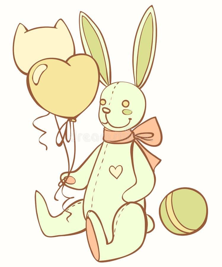Зайчик игрушечного игрушки с воздушными шарами и шариком иллюстрация штока