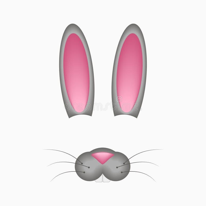Зайчик или зайцы смотрят на элементы - уши и нос Фото и видео Selfie составляют схему фильтру с маской кролика шаржа вектор иллюстрация штока
