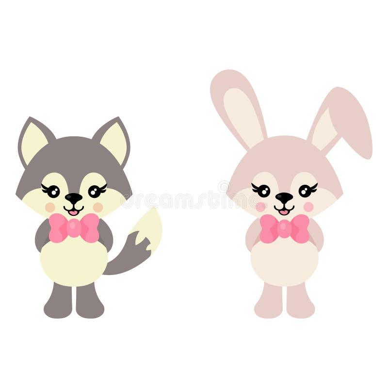 Зайчик и волк мультфильма милый с вектором связи иллюстрация вектора