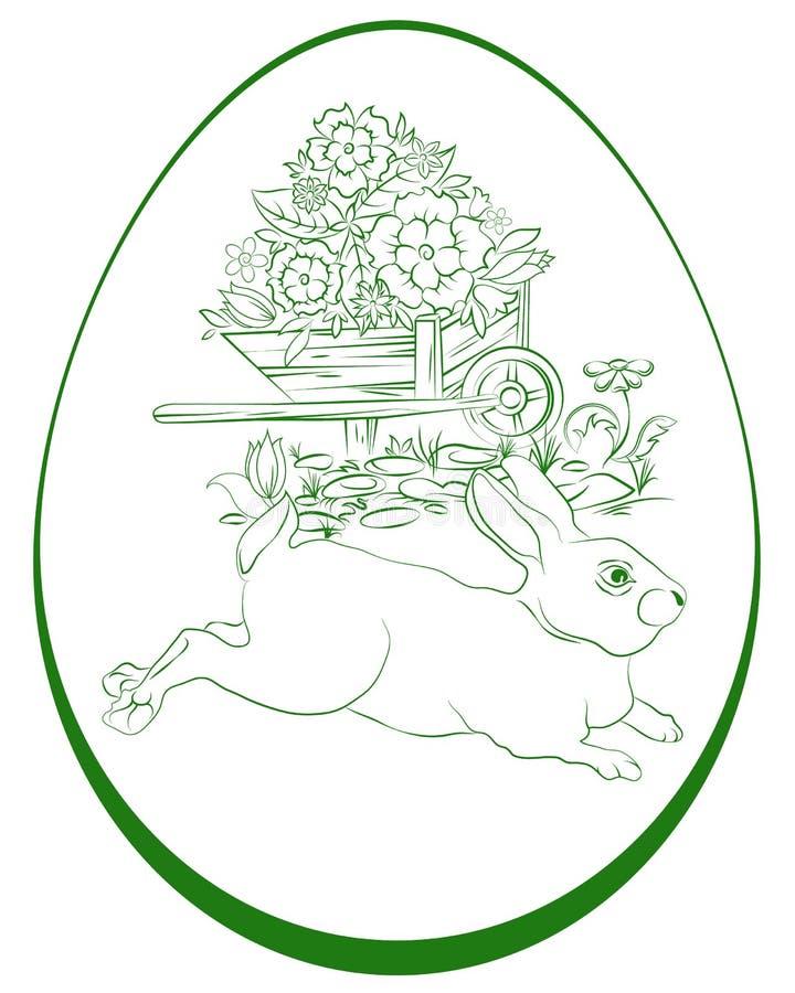 Зайчик и яичко пасхи иллюстрация вектора