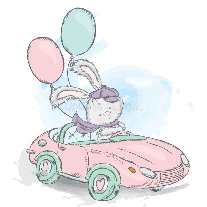 Зайчик меда в автомобиле Иллюстрация вектора для карточки или плаката Печать на одеждах иллюстрация штока