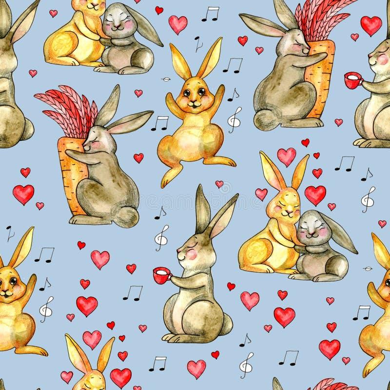 зайчик милый Безшовная картина с кроликом желтый цвет акварели стародедовской предпосылки темный бумажный красный цвет поднял иллюстрация вектора