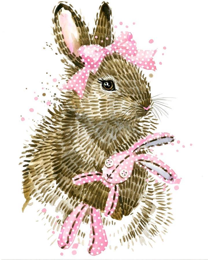 зайчик милый Зайчик акварели Кролик Одичалая акварель кролика иллюстрация вектора