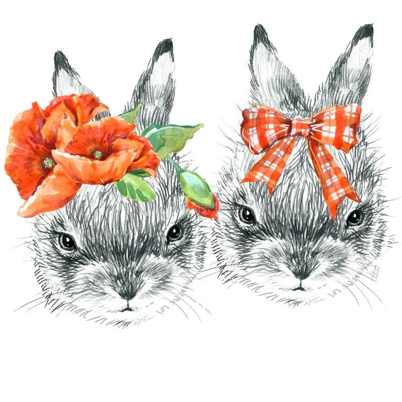 зайчик милый Иллюстрация эскиза карандаша кролика Печать футболки с милым зайчиком иллюстрация вектора