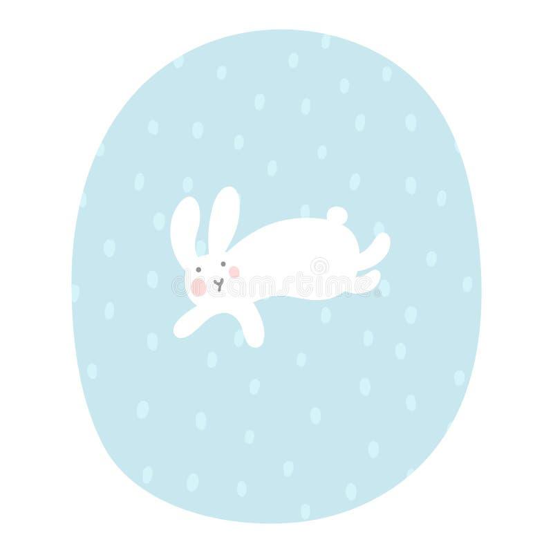 Зайчик мультфильма бежит под снежностями r Иллюстрация вектора ребенк Ландшафт зимы для Нового Года и рождества иллюстрация штока