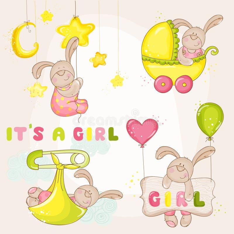 Зайчик младенца установленный - для детского душа бесплатная иллюстрация
