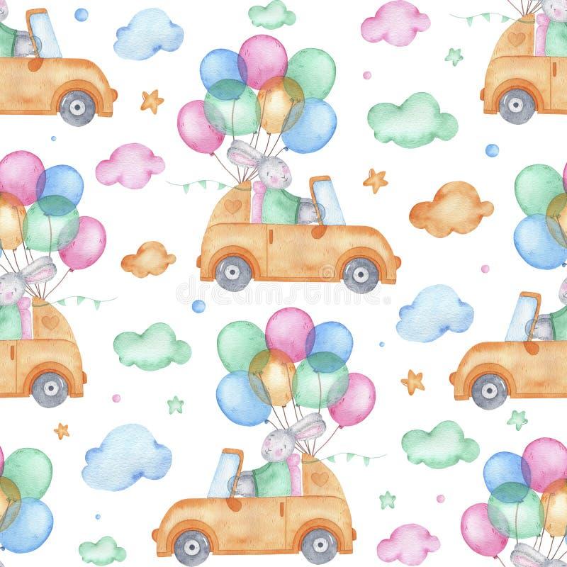 Зайчик пасхи безшовной картины акварели счастливый милый на автомобиле иллюстрация штока