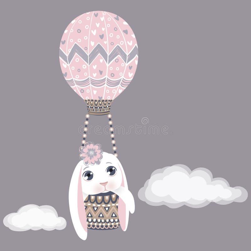 Зайчик пасхи вектора в воздушном шаре Смешной кролик моды Счастливый иллюстрация штока