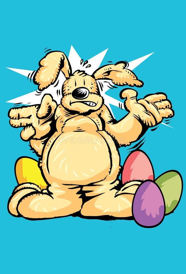 Зайчик пасхи в кролике цвета с покрашенными пасхальными яйцами шоколада стоковые изображения
