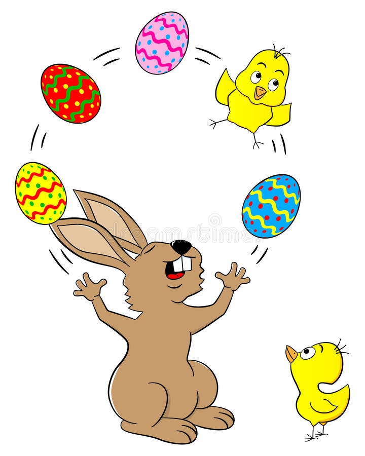 Зайчик пасхи жонглируя с пасхальными яйцами и цыпленоком бесплатная иллюстрация