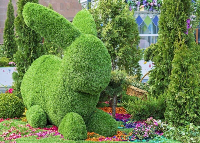 Зайчик пасхи сделанный из зеленой травы используя метод фигурной стрижки кустов стоковая фотография rf