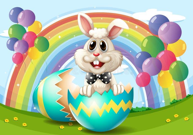 Зайчик пасхи с яичком и воздушными шарами бесплатная иллюстрация