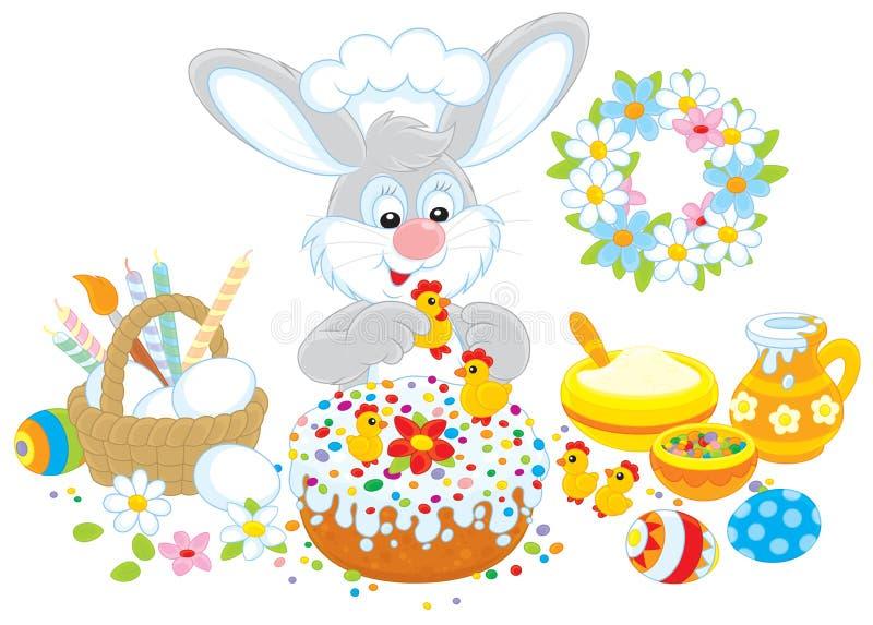 Зайчик пасхи украшает торт иллюстрация вектора