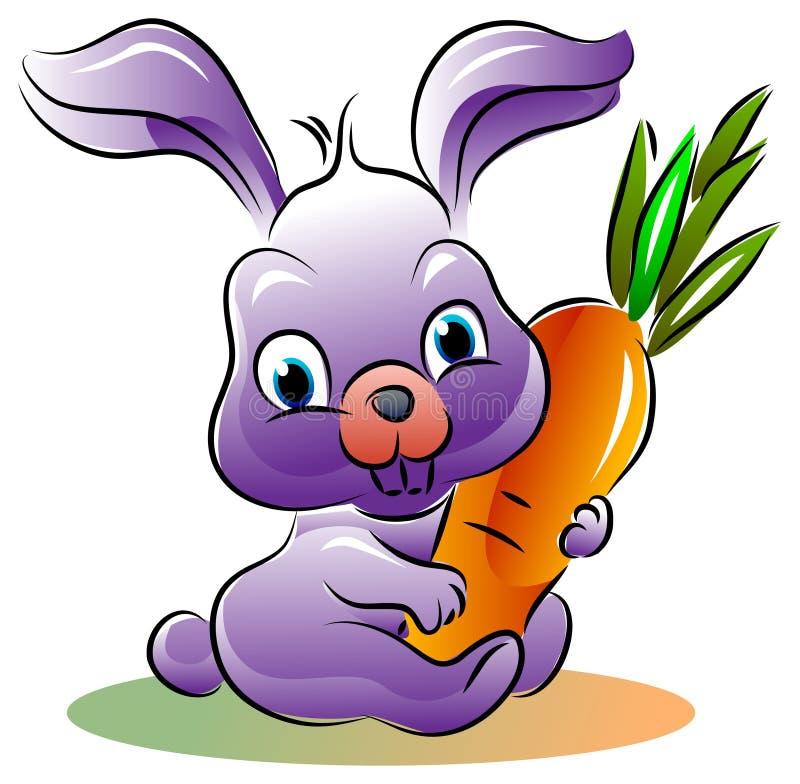Зайчик пасхи шаржа с морковью бесплатная иллюстрация