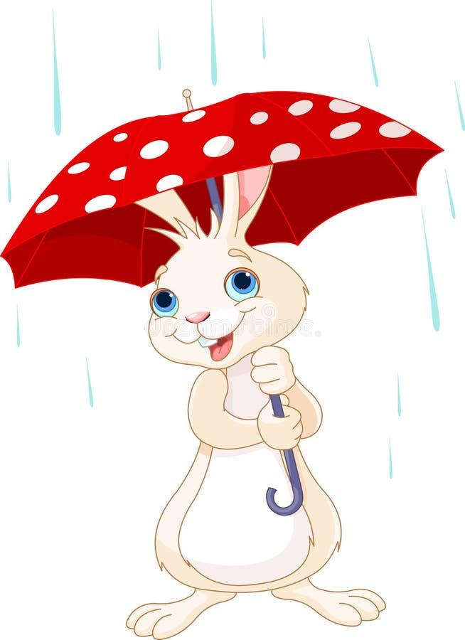 Зайчик под зонтиком иллюстрация штока