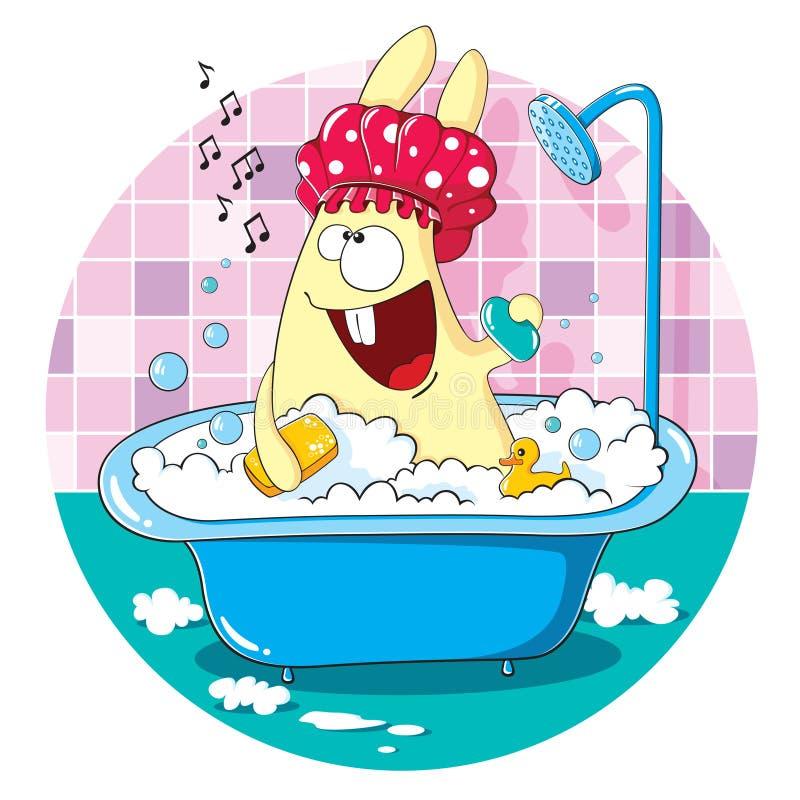 Зайчик шаржа принимая ванну иллюстрация штока