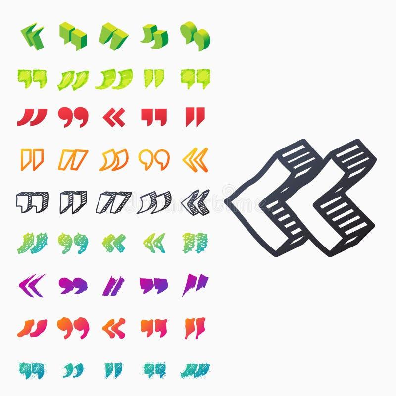Закавычьте символ метки цитаты вектора цитации цитаты символа диалога пузыря сообщения концепции текста значка знака бесплатная иллюстрация