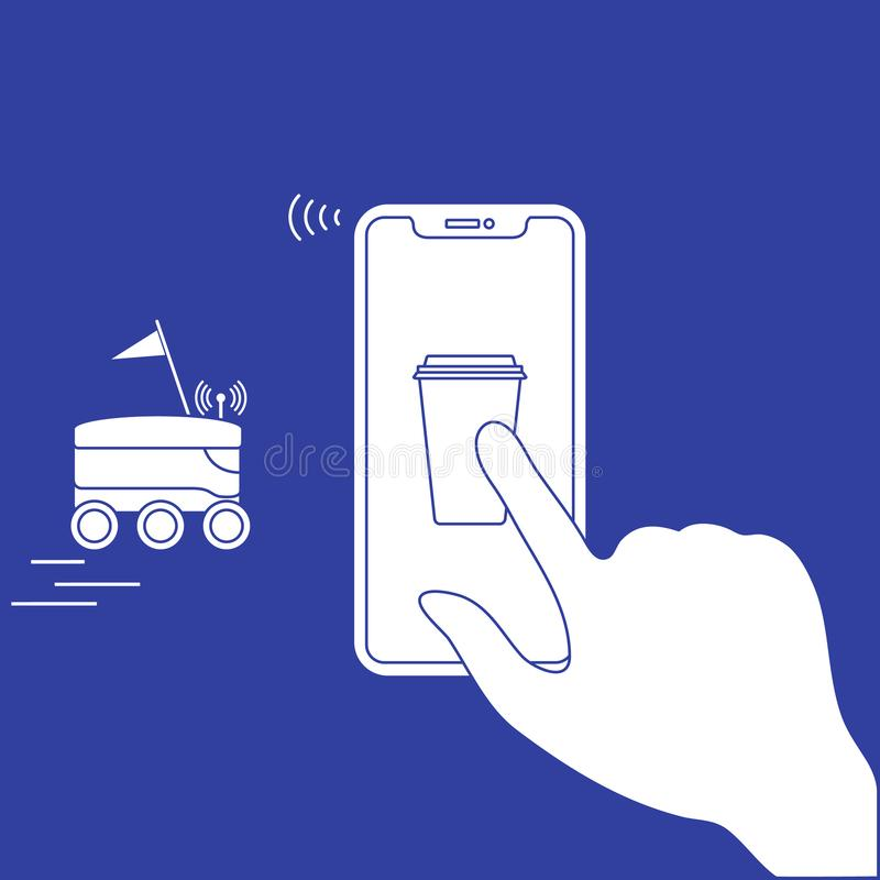 Заказ в умном телефоне app, поставке с роботом иллюстрация штока