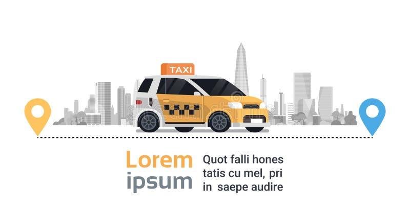 Заказ обслуживания такси, желтый автомобиль кабины на трассе с указателями карты Gps над предпосылкой города силуэта иллюстрация штока