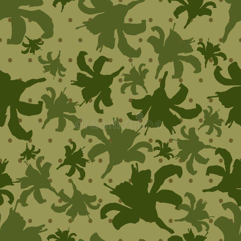 Закамуфлируйте безшовную текстуру в точках польки и с силуэтами цветков также вектор иллюстрации притяжки corel бесплатная иллюстрация