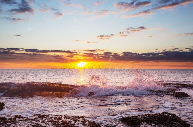 Закат моря стоковые фотографии rf