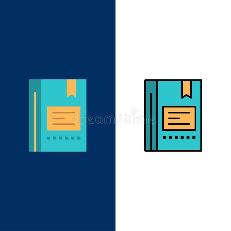 Закладка, книга, образование, фаворит, примечание, тетрадь, значки чтения Квартира и линия заполненный значок установили предпосы иллюстрация вектора