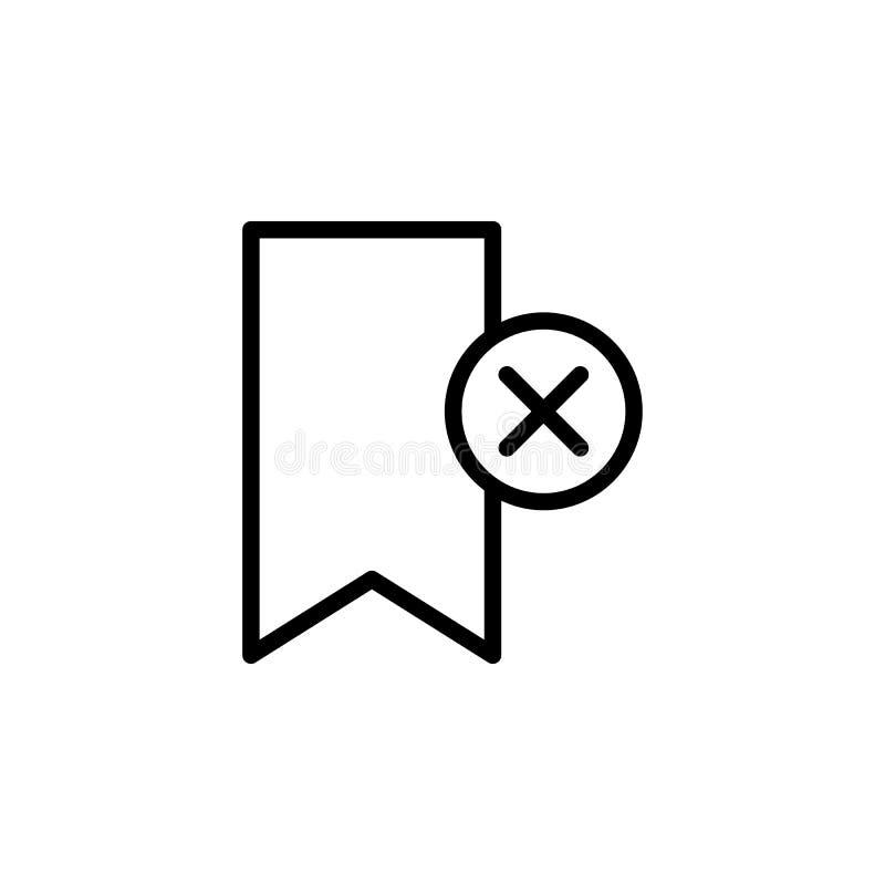 Закладка, удаление, перекрестный значок Смогите быть использовано для сети, логотипа, мобильного приложения, UI, UX иллюстрация штока