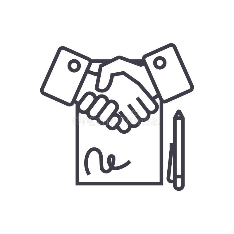 Заключите контракт линейный значок, знак, символ, вектор на изолированной предпосылке иллюстрация штока