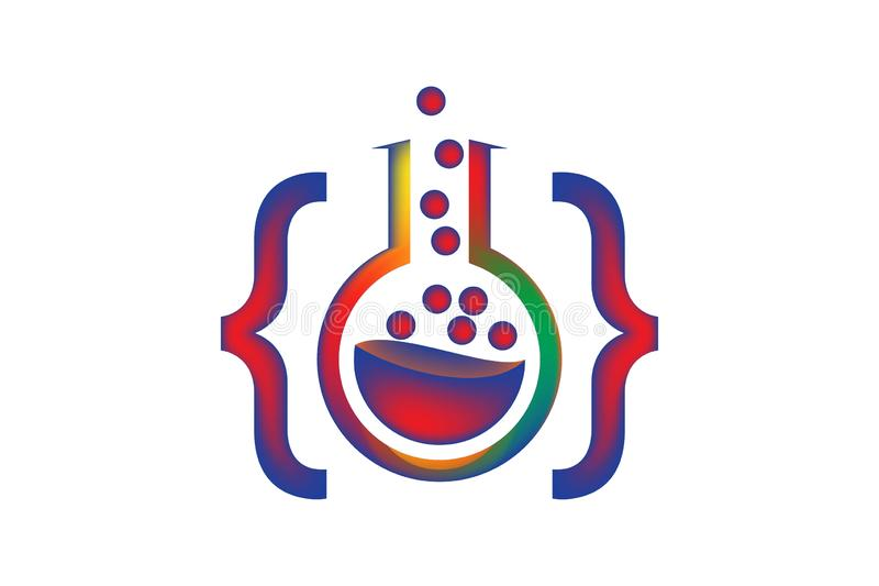 Закодируйте изолированную воодушевленность дизайнов логотипа лаборатории на белой предпосылке бесплатная иллюстрация