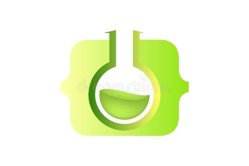 закодируйте лабораторию, воодушевленность логотипа стеклянной лампы изолированную на белой предпосылке иллюстрация вектора