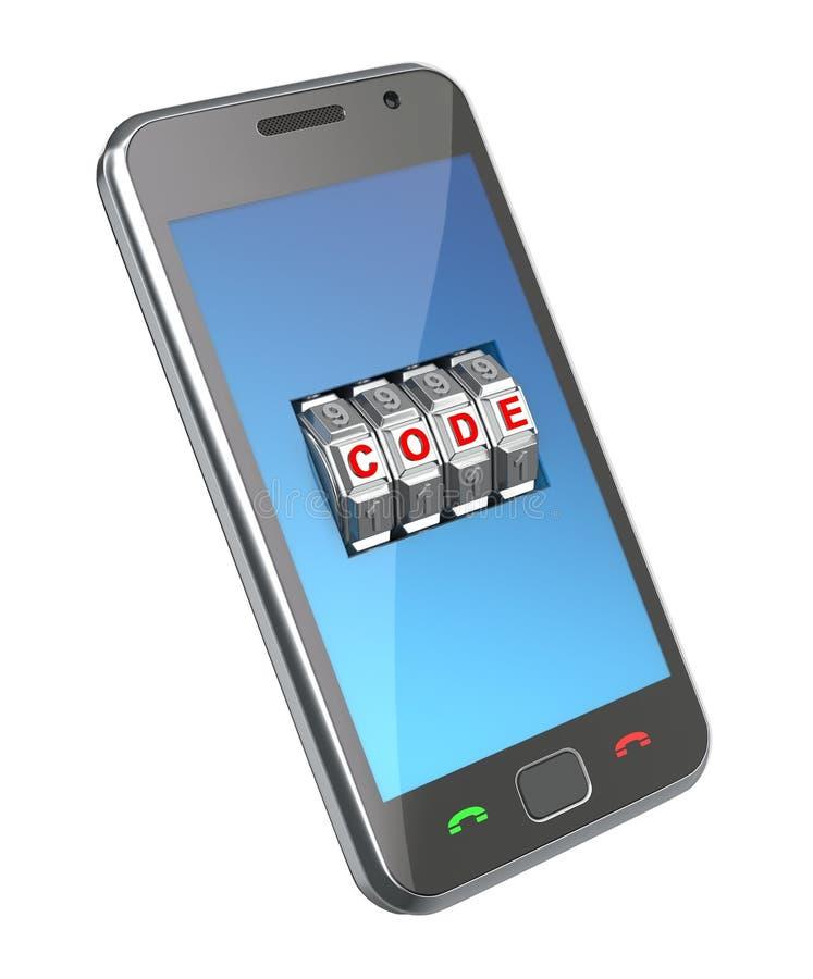закодируйте мобильный телефон механизма иллюстрация штока