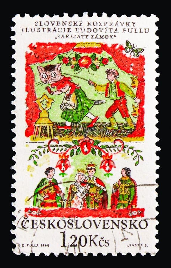 Заколдованный замок, serie сказок словака национальное, около 1968 стоковая фотография