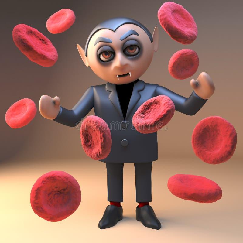 Заколдованный персонаж из мультфильма чудовища 3d Дракула вампира смотря клетки плазмы крови, иллюстрацию 3d иллюстрация вектора