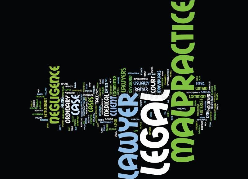 Законная концепция облака слова предпосылки текста юриста преступной небрежности врача иллюстрация штока