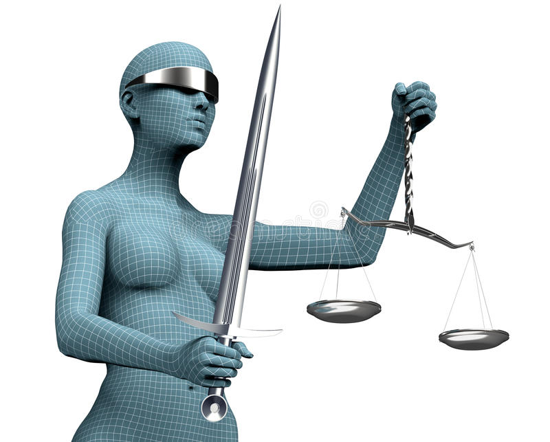 Законная концепция судьи компьютера, правосудие дамы изолированное на белизне иллюстрация штока
