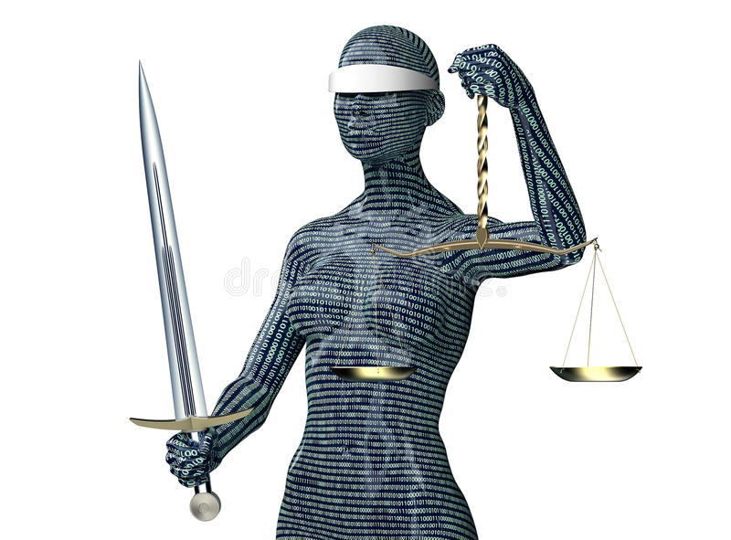 Законная концепция судьи компьютера, правосудие дамы изолированное на белизне бесплатная иллюстрация