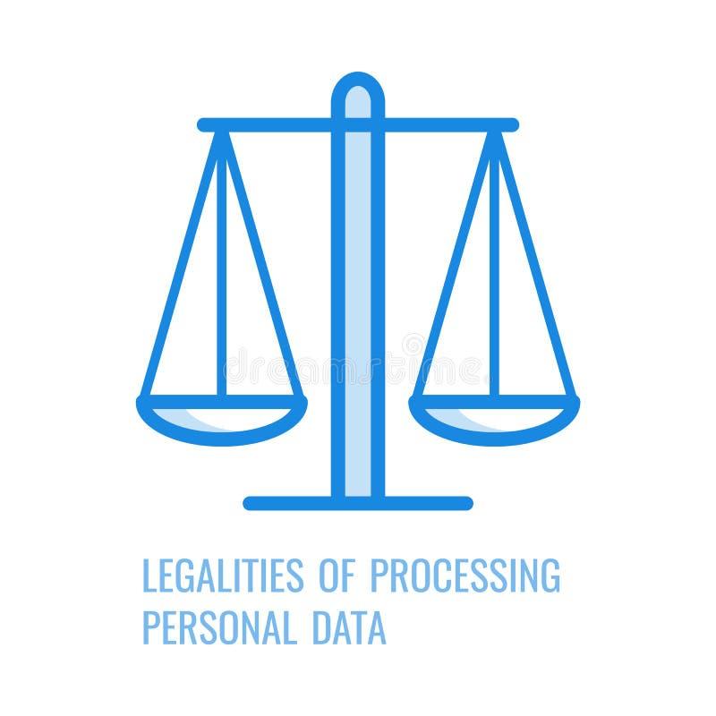 Законности обработки личных данных - тонкого значка плана принципа gdpr в иллюстрации вектора иллюстрация штока