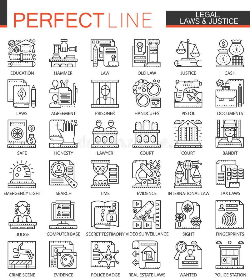 Законный, закон и правосудие конспектируйте мини символы концепции Установленные иллюстрации стиля современного хода линейные Сов иллюстрация вектора