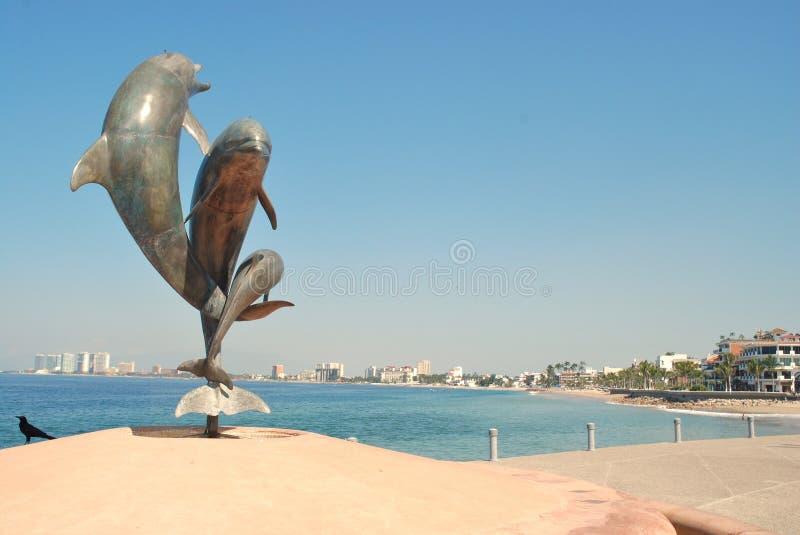 Законоположение дельфина на Malecón в Puerto Vallarta II стоковые фотографии rf