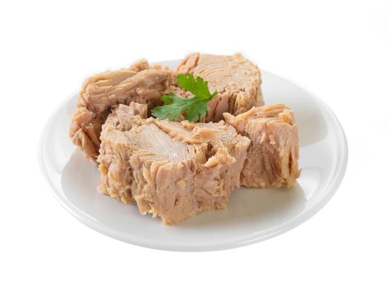 Законсервированное мясо тунца в плите на белой предпосылке стоковые изображения rf