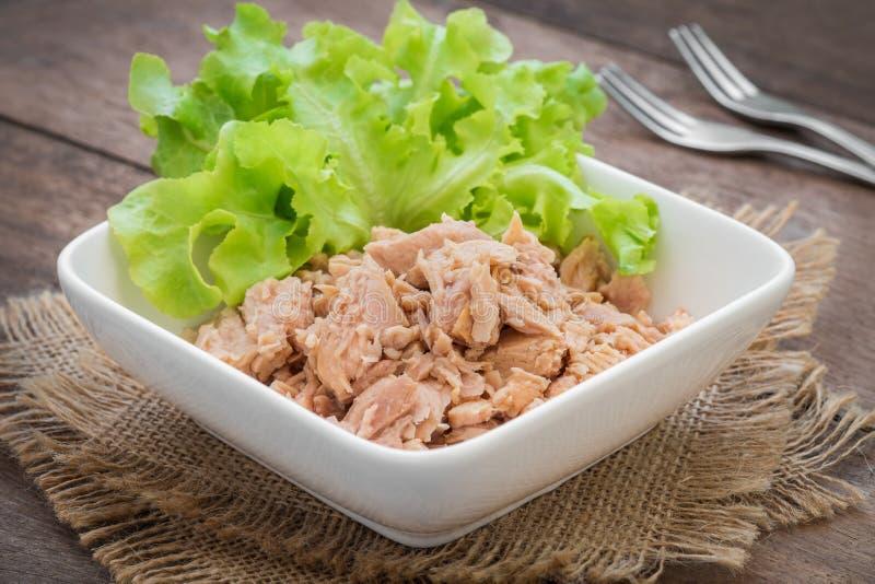 Законсервированное мясо тунца с овощем в шаре стоковая фотография rf