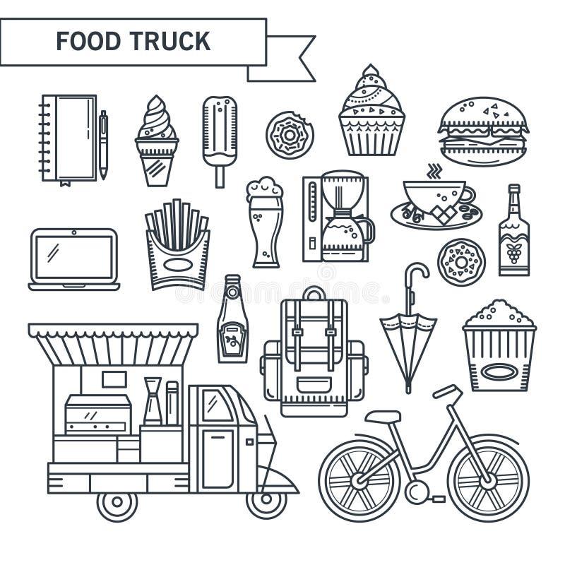 Законспектированная еда улицы значков иллюстрация штока