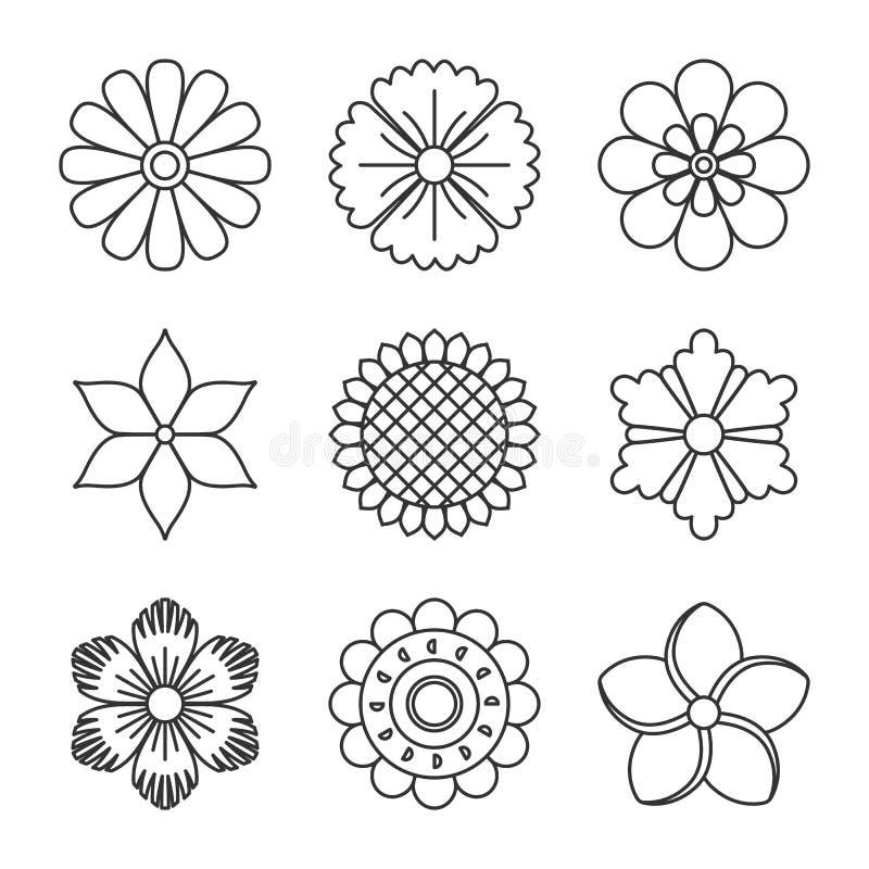 Download Законспектированные значки цветков Иллюстрация вектора - иллюстрации насчитывающей икона, конструкция: 81814764
