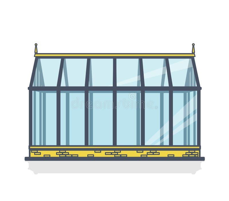 Законспектированный парник с стеклянными стенами, учреждениями, кроватью сада иллюстрация штока