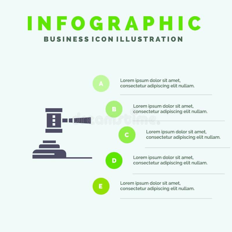 Закон, действие, аукцион, суд, молоток, молоток, судья, законная твердая предпосылка представления шагов Infographics 5 значка бесплатная иллюстрация
