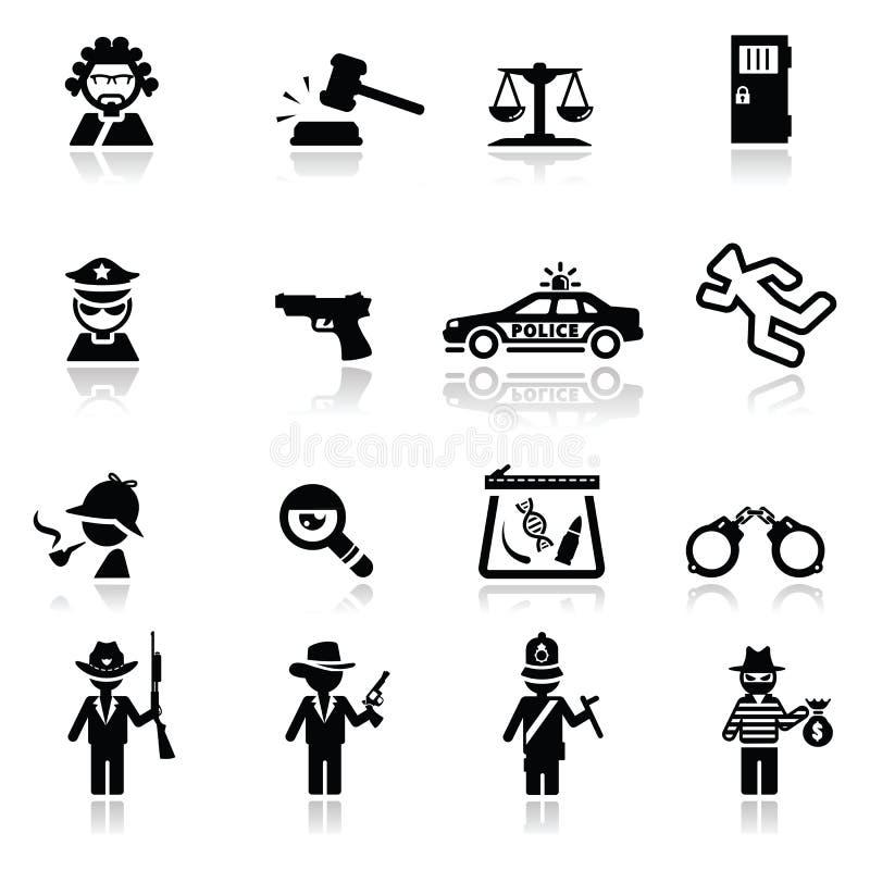 Закон и правосудие установленные иконами стоковые изображения rf