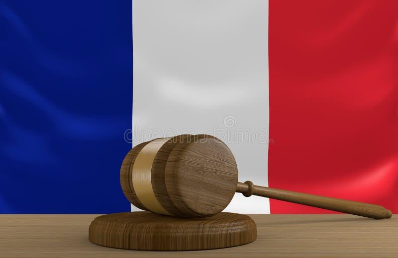 Закон и система правосудия Франции с национальным флагом бесплатная иллюстрация