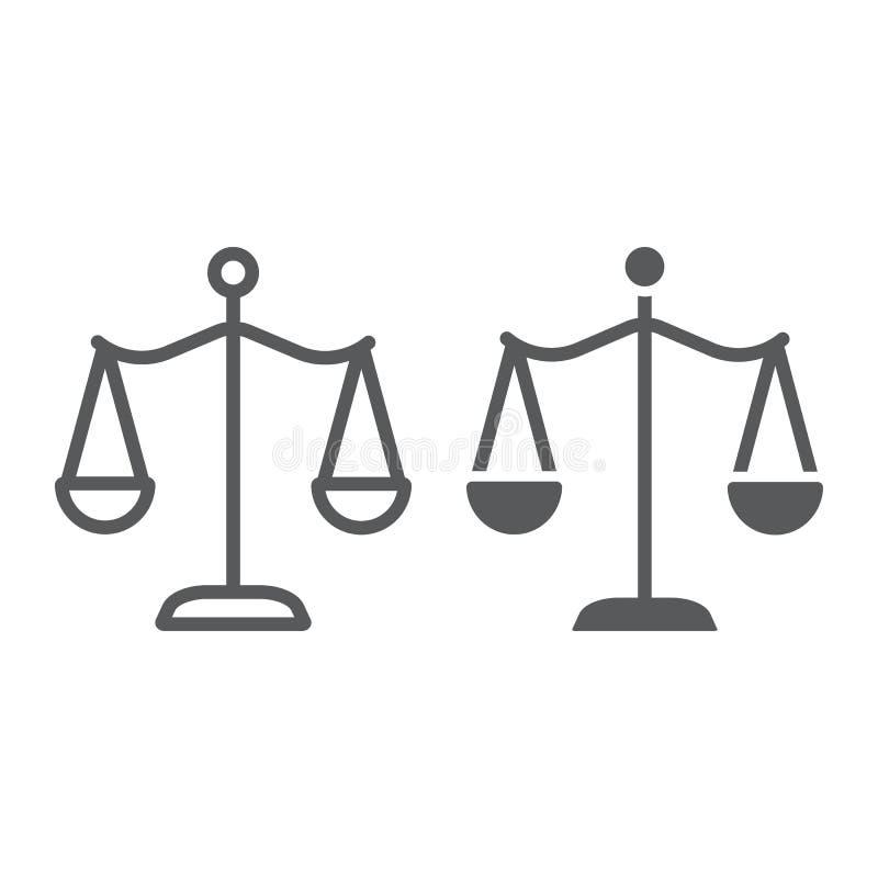 Закон масштабирует линию и значок глифа, правосудие и закон, знак баланса, векторные графики, линейную картину на белой предпосыл иллюстрация вектора