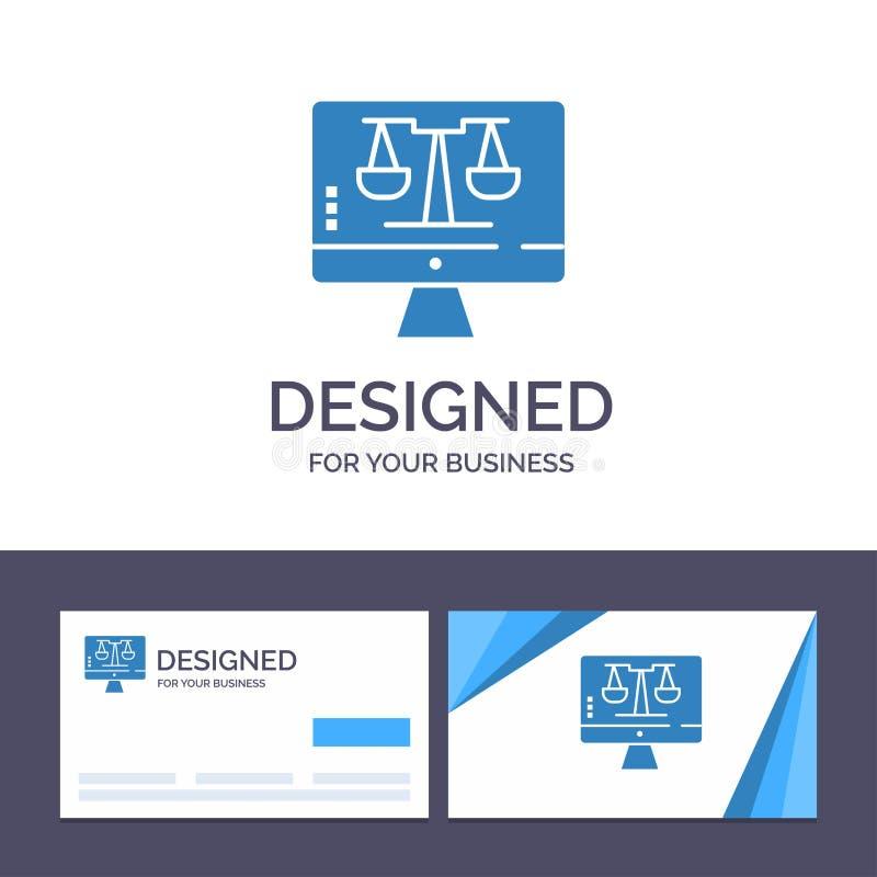 Закон онлайн, компьютер цифров творческого шаблона визитной карточки и логотипа, технология, иллюстрация вектора экрана иллюстрация штока